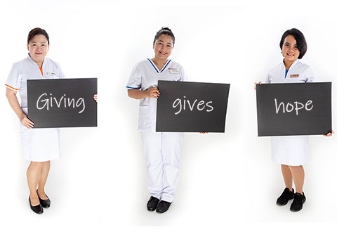 Nurses who give hope to patients through their monthly contribution to the NHCS Heart To Heart Fund (L-R) Chief Nurse, Amy Tay; Senior Staff Nurse Sharifah Farahlina Binte Syed Fathir, Post Anaesthesia Care Unit; and Senior Staff Nurse Mya Sandar Hlaing from Ward 44 – Coronary Care Unit.