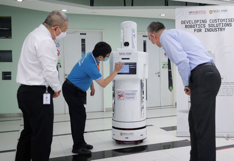 Meet new healthcare Hiro, a robot that disinfects surfaces, reminds polyclinic visitors to put on masks